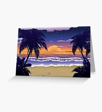 Sunset on beach 2 Greeting Card