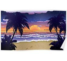 Sunset on beach 2 Poster
