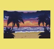 Sunset on beach 2 One Piece - Short Sleeve