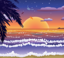 Sunset on beach 2 Sticker