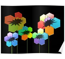 Geometric Poppies Poster