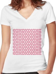 Seamless Flower Pattern 2 Women's Fitted V-Neck T-Shirt