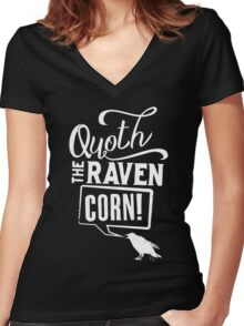 Quoth the Raven, Corn! (White) Women's Fitted V-Neck T-Shirt