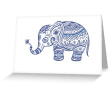 Cute Navy Blue Retro Floral Lephant Greeting Card