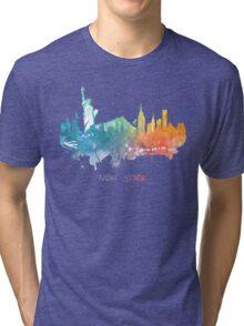 New York City skyline colored Tri-blend T-Shirt