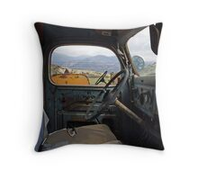 Inside The Old Truck Throw Pillow