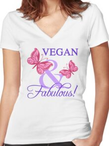 Vegan and Fabulous Women's Fitted V-Neck T-Shirt