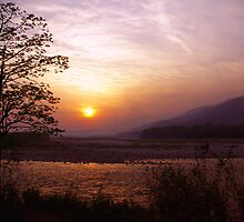 Sunset at the border of India and Bhutan by John Mitchell