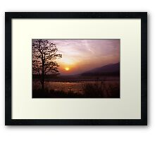 Sunset at the border of India and Bhutan Framed Print