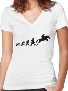 Show jumping evolution darwin horse  Women's Fitted V-Neck T-Shirt