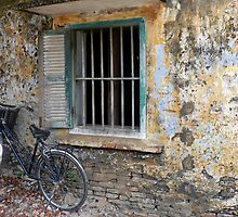 Hoi An window and stained wall. by John Mitchell