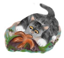 Starfish on a Rock Interests Kitten by NineLivesStudio