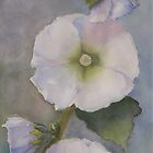 Whtie Hollyhock panel by Susan Moss
