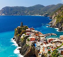 Cinque Terre Town on a Rock by George Oze