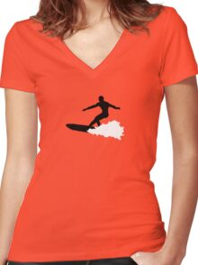 surf  surfing  Women's Fitted V-Neck T-Shirt