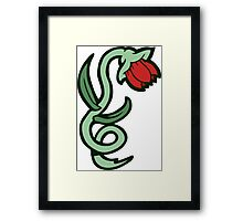 red flower tattoo Framed Print