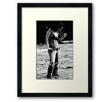 Blue Jeans on the Beach Framed Print