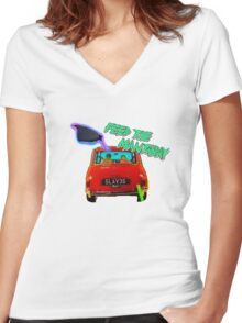 Feed The Mantaray Women's Fitted V-Neck T-Shirt