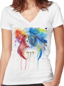 Give Me Love - Watercolor Women's Fitted V-Neck T-Shirt
