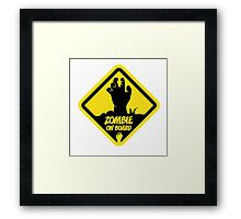Zombie On Board Warning Sign Framed Print