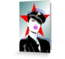 Girl In A Leather Cap Greeting Card