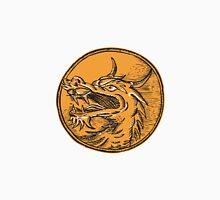 Chinese Dragon Head Circle Etching Unisex T-Shirt