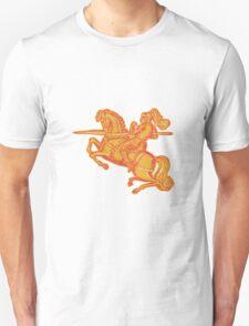 Knight Full Armor Horseback Lance Etching T-Shirt