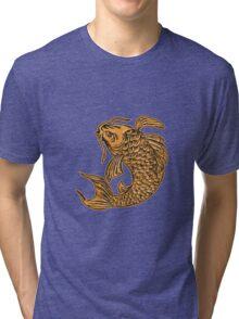 Koi Nishikigoi Carp Fish Jumping Etching Tri-blend T-Shirt