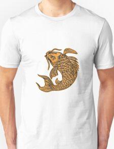 Koi Nishikigoi Carp Fish Jumping Etching T-Shirt