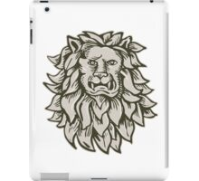 Angry Lion Big Cat Head Etching iPad Case/Skin