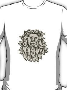 Angry Lion Big Cat Head Etching T-Shirt
