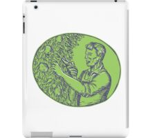 Orchardist Trimming Plum Tree Oval Etching iPad Case/Skin