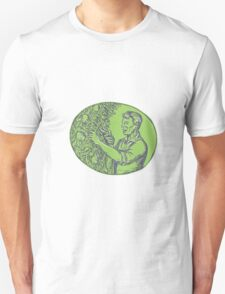 Orchardist Trimming Plum Tree Oval Etching T-Shirt