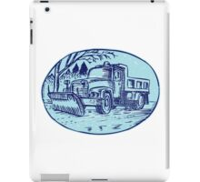 Snow Plow Truck Oval Etching iPad Case/Skin