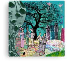 Green Garden Gathering Canvas Print