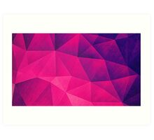 Abstract Polygon Multi Color Cubizm Painting in deep pink/purple  Art Print