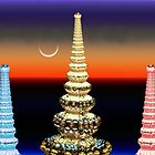 Spires and the Lunar Eclipse by barrowda