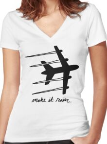 making it rain Women's Fitted V-Neck T-Shirt