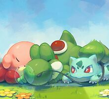 Kirby Yoshi & Bulbasaur Laying On The Grass by TheYungRyu
