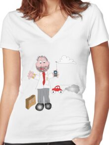 My Dad! Women's Fitted V-Neck T-Shirt