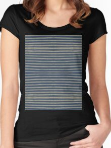navy gold stripes Women's Fitted Scoop T-Shirt