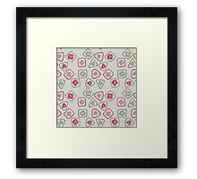 green, red, and gold squares and triangles Framed Print