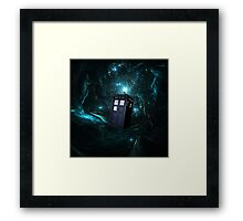 Flying Tardis on Space Framed Print