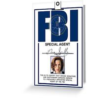 Dana Scully ID Badge  Greeting Card