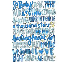 Thinking Out Loud Ed Sheeran lyric art Photographic Print