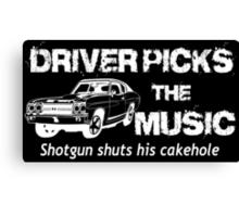 Driver Picks The Music Shotgun Shuts His Cakehole - Funny Tshirts Canvas Print