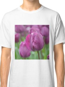 Purple Tulip with Water Drops Classic T-Shirt