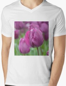 Purple Tulip with Water Drops Mens V-Neck T-Shirt