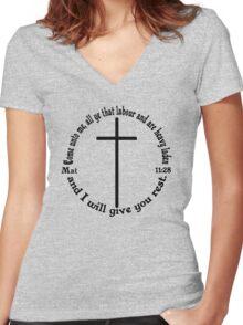 MATTHEW 11:28 circular Women's Fitted V-Neck T-Shirt