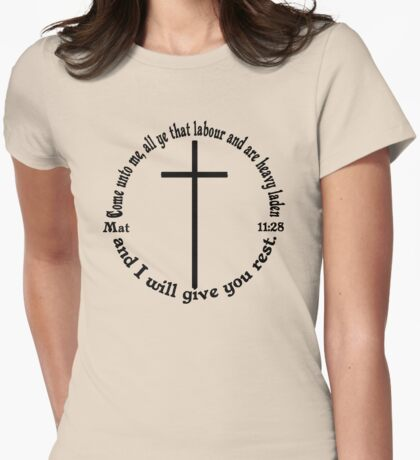 MATTHEW 11:28 circular Womens Fitted T-Shirt